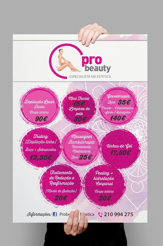 Cartazes, para Probeauty especialista em estética.