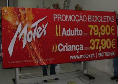 Motex promoção de bicicletas Lonas publicitárias