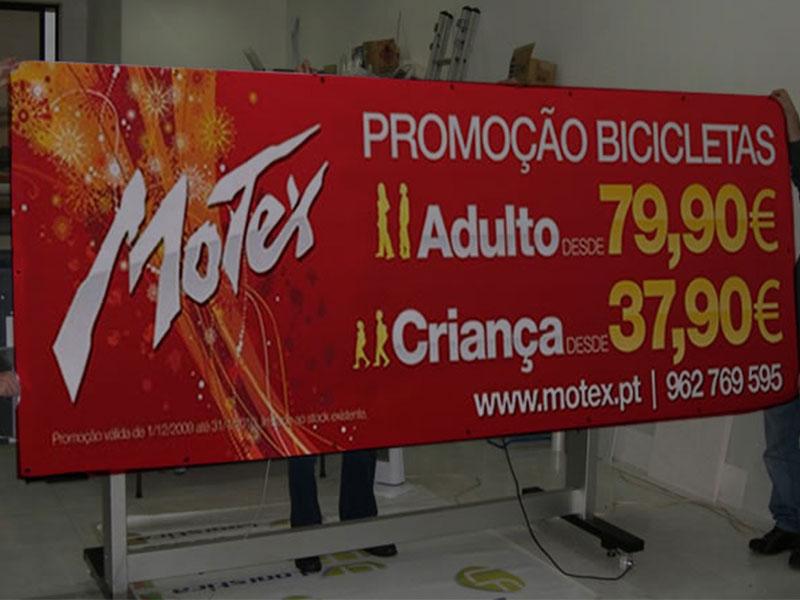 Motex lonas publicitárias promoção de bicicletas