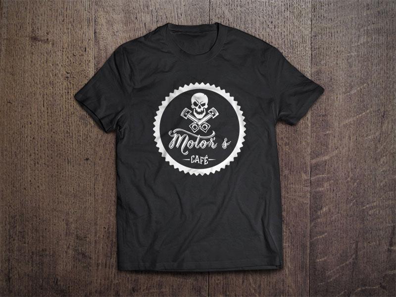 Motors café T-Shirt preta identidade
