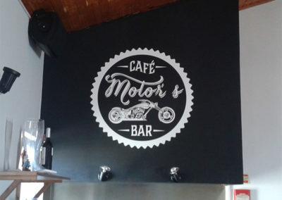 Motors café logotipo interior identidade
