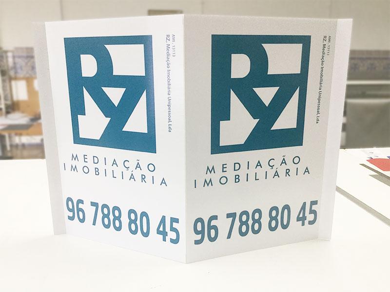 RZ Mediação imobiliária placas imobiliária pirâmide