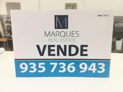 Marques Real Estate impressão de placas imobiliária