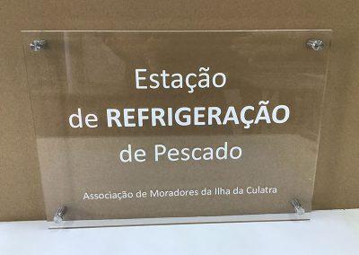 Placa de acrílico com afastadores de parede Estação de refrigeração